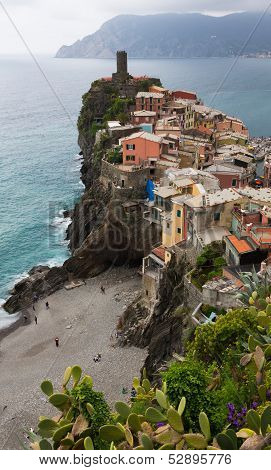 Vernazza Buildings And Beach