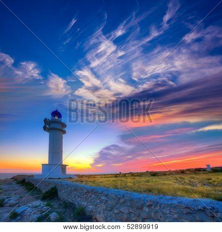 Barbaria Berberia Cape Lighthouse Formentera at sunset in Balearic Islands