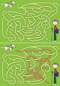 image of seeing eye dog  - Guide dog maze for kids with a solution - JPG