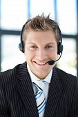 Smiling Businessman With A Headset On