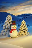 happy snowman, Christmas scene