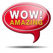 stock photo of you are awesome  - mind blowing amazing and awesome wow factor icon - JPG