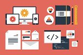 stock photo of sketche  - Flat design modern vector illustration icons set of business branding and development web page application programming code - JPG