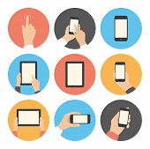 picture of tablet  - Modern flat icons vector collection in stylish colors of mobile phone and digital tablet using with hand touching screen symbol - JPG