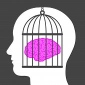 foto of cognitive  - Conceptual illustration of a caged brain with a male head depicting a lack of freedom of thought and a man who is a captive and no longer free to innovate or create but is controlled - JPG