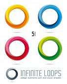 Impossible Infinite Loop Vector Design Elements with five surfaces and color shades. Easily editable