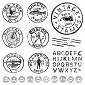 foto of trout fishing  - Vector vintage stamp and icons - JPG