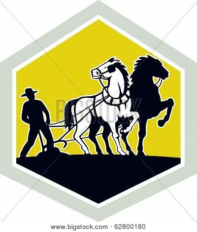 Farmer And Horses Plowing Field Crest Retro