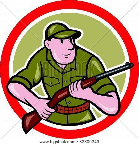 Hunter Carrying Rifle Circle Cartoon