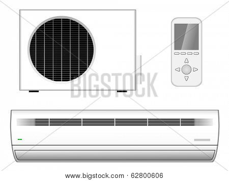 New modern air-conditioner with outside part and remote control isolated on white background.