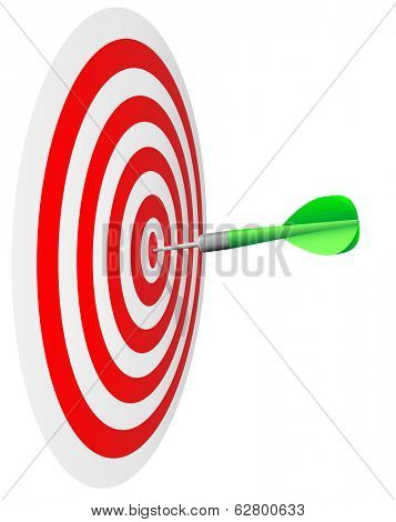 Winning concept. Dart's hit the bulls eye isolated on white background.