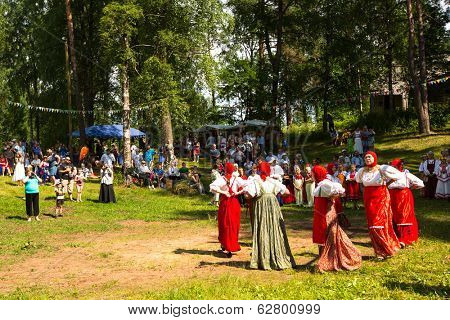 TERVENICHI, RUSSIA - JUL 7, 2013: Unidentified local children celebrated Ivan Kupala Day. The celebration relates to the summer solstice and includes a number of fascinating Pagan rituals.