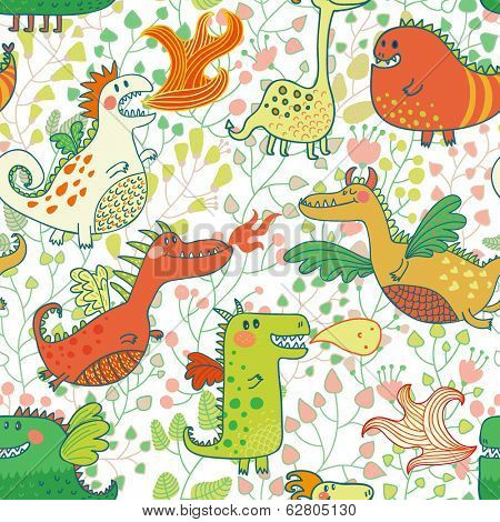 Funny seamless pattern with dragons in flower garden. vector floral fantasy background. Cute monsters flying texture