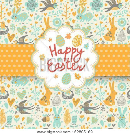 Happy easter card in vector. Funny rabbits, swallow, flowers and eggs in cute cartoon style. Spring seamless texture