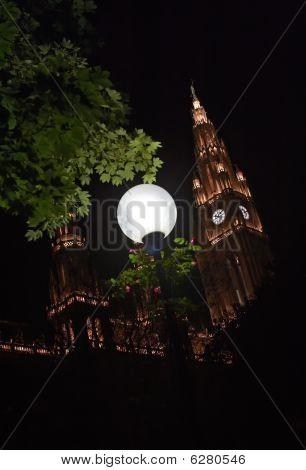 Rathaus Night Lights In Vienna