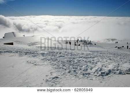 Roof Hut - Etna Covered By Snow