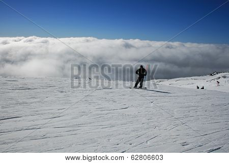 Snowboerder, Etna Covered By Snow - Sicily