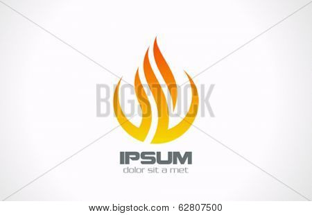Abstract corporate vector logo design template. Corporate symbol icon. Flame in Circle concept.