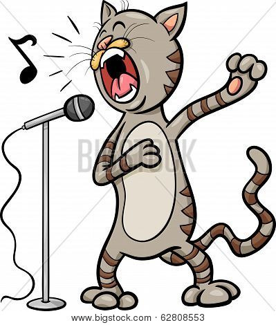 Singing Cat Cartoon Illustration