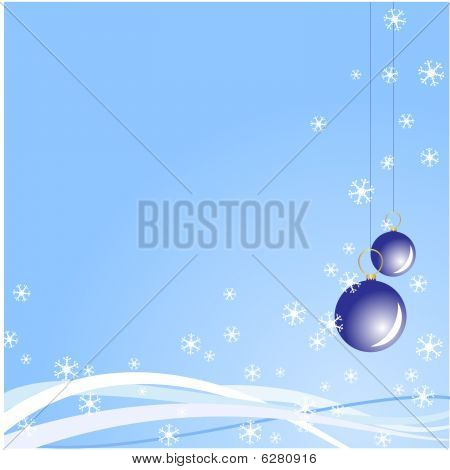 Christmas balls blue vector background