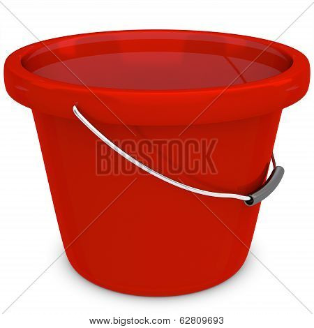 3D Empty Red Plastic Bucket