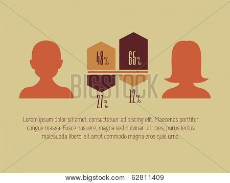 Flat Social Media Infographic. Vector Template.