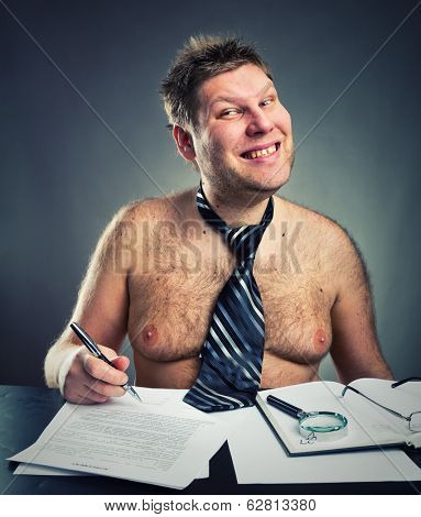 Smiling funny businessman