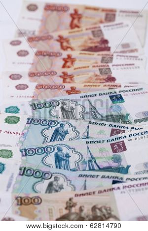 Money Russian banknotes dignity five thousand and thousand rubles background