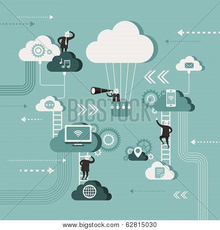 Flat Design Illustration Concept Of Explore Cloud Network
