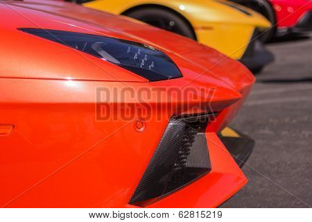 Orange Lamborghini On Exhibition Parking At An Annual Event Supercar Sunday Lamborghini Day