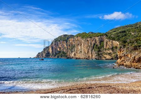 A section of Paleokastritsa beach, a popular tourist destination on Corfu Island, Greece.
