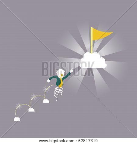 Flat Design Illustration Concept Of Keep Going Up