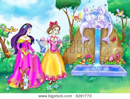 two Fairy Tale Princesses.illustration