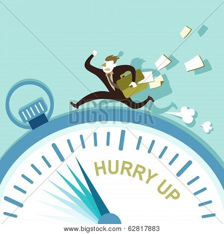 Flat Design Illustration Concept Of Hurry Up