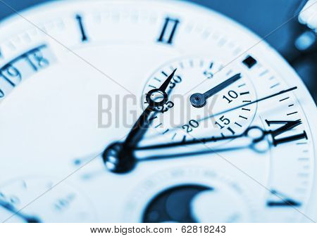 Arrows Mechanical Clock. Very Shallow Depth Of Field And Focus On The Clockwise