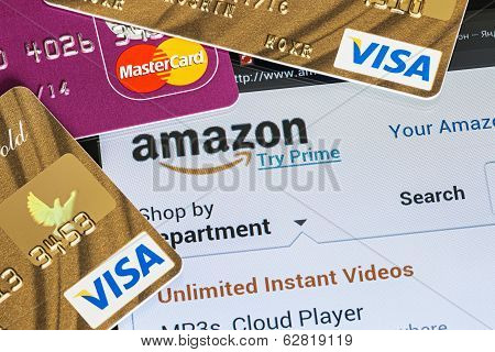 Payment Of Purchases From The Online Store Amazon Payments Using Plastic Cards Visa And Mastercard