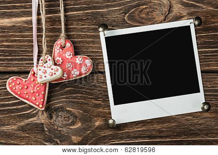 Cookies In The Form Of Hearts And An Photoframe