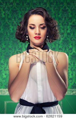 Retro Style Woman In Vintage Green Room
