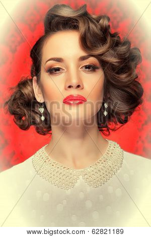 Retro Style Woman Toned Image On Red Vintage Background