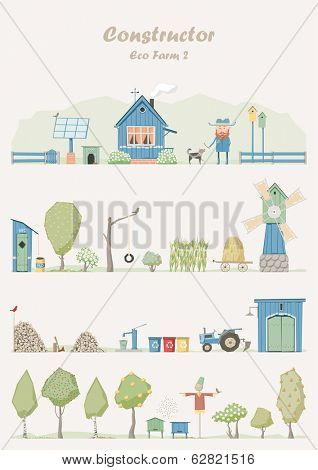 Vector constructor - eco farm (green house)