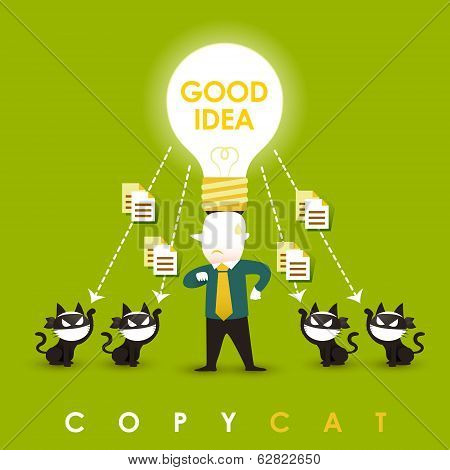 Flat Design Illustration Concept Of Copycat