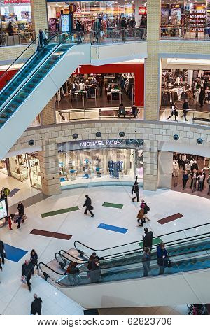 People Enter To Metropolis Shopping Center In Moscow, Russia