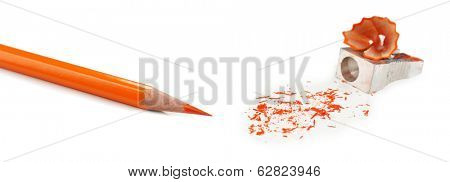 Pencil and pencil shavings, isolated on white
