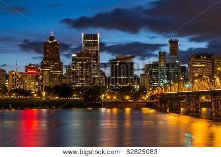 Nighttime Portland Skyline