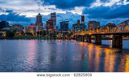 Portland Skyline Along Willamette River