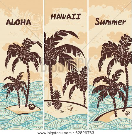Vintage banners of the island in the ocean