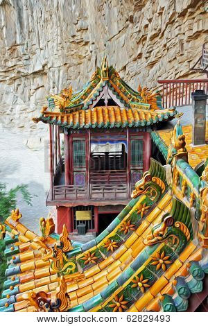 Famous Hanging Monastery In Shanxi Province Near Datong, China, Viewed From Side, Oil Paint Stylizat
