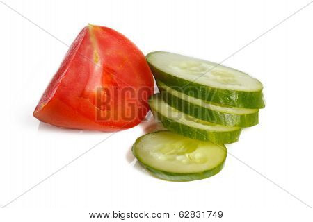 Sliced tomatoes and cucumber