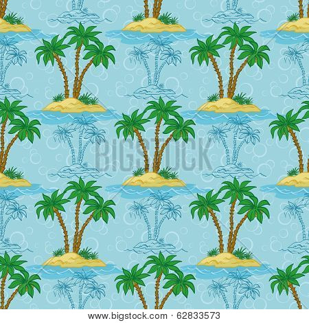 Seamless pattern, palm trees