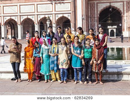 People Pose For A Group Photo At Jama Masjid Mosque, Old Delhi, India.